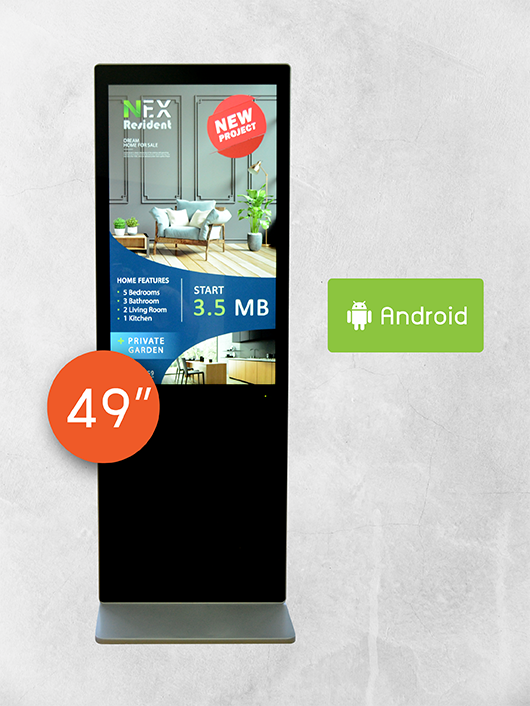 "49"" Floor Standing Kiosk (ไม่สัมผัส)"